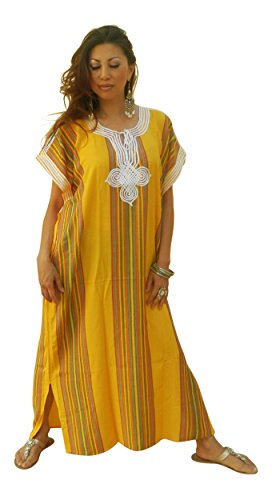 Kaftan Beduinen Gelb New Up handgefertigt Damen Schnitt Baumwolle Resort Fashion Wear Cover 1UTAEUnx