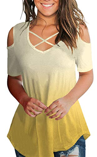 Womens Plus Size Tops Cold Shoulder Western Trendy V Neck Criss Cross Tee Blouse OmbreYellow XL
