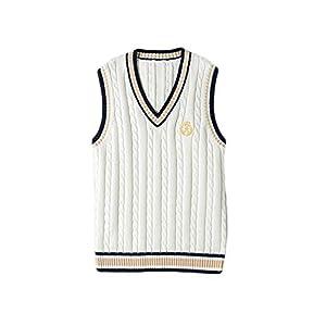 Pull sans Manche Femme Sweater K-popeste Gilets en K-pop Blanc Costume d'école Laine Noir Cosplay UnifoK-pope Classique…