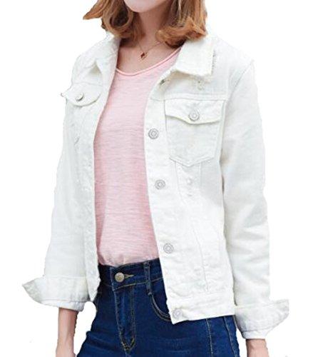 Denim Tops Manteau Hooded Femme Coat Outerwear White2 Bouton Veste Automne Dcontracte Blousons Casual AILIENT Court EqxfYRf