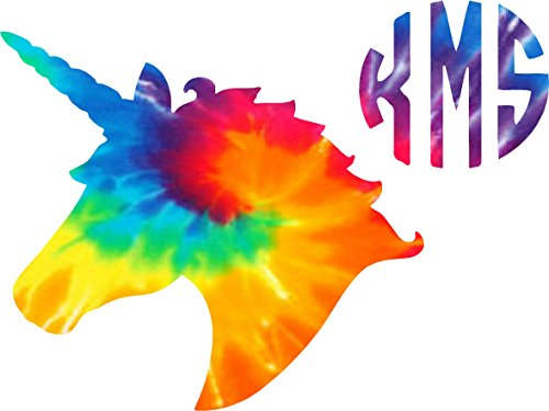 Tie Dyed Unicorn initial Decal sticker ( please leave your initials in the order that you want them in thanks ) Any sticker can be made yeti size to large - Computor Glasses