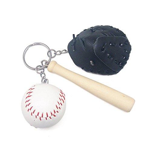 Mini Baseball Glove and Bat Model Keychain, -