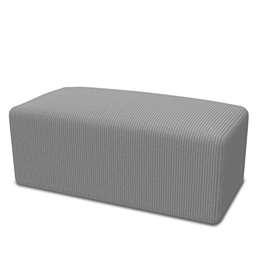 Easy-Going Stretch Ottoman Cover Folding Storage Stool Furniture Protector Soft Rectangle slipcover with Elastic Bottom(Ottoman L,Light Gray)