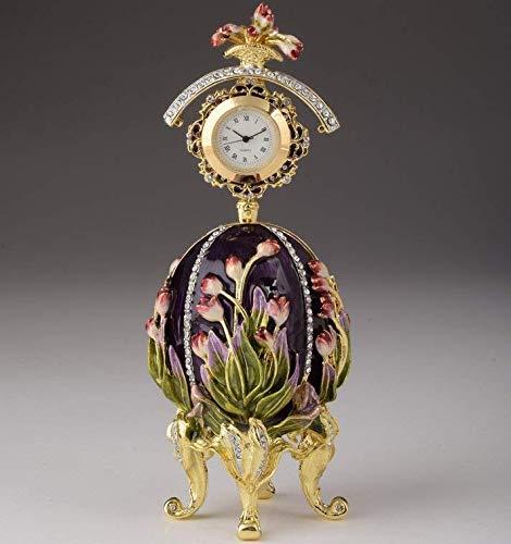 Keren Kopal Purple Tulip Egg Trinket Box & Clock Russian for sale  Delivered anywhere in USA