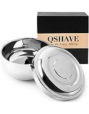 QShave RVS Scheerkom met Deksel 4 Inch Diameter Grote Diepe Size Verchroomd Shinning Finish Scheren Zeep Cup Mok