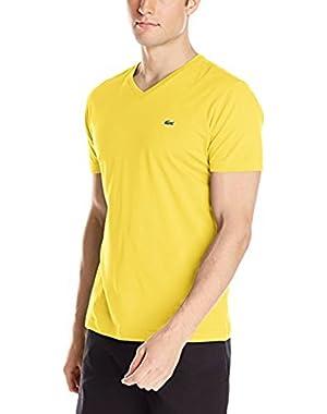 Men's Short Sleeve Jersey Pima V Neck T-Shirt