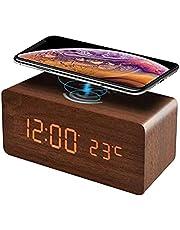 DriSubt Trådlös laddning väckarklocka, trä LED-skrivbordsklocka med temperatur datum display ljudkontroll, trådlös laddning för iPhone, galax och mer