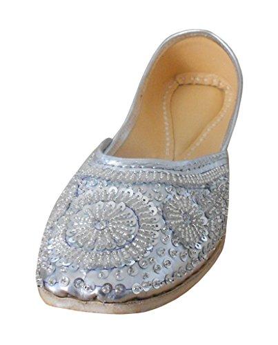 Cuir Traditionnel Synthétique Séquence Kalra Argent Chaussures En De Pour Travail Avec Groom Creations Indien Femme aaZwq04