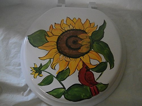 - Hand painted sunflower and birds. standard white toilet seat. usa.