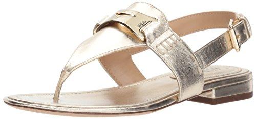 Lauren Ralph Lauren Women's Dayna Flat Sandal, Silver, 7 B US (Womens Ralph Leather Lauren)