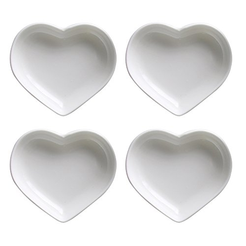 Heart Shaped Bowls (SOCOSY Heart-shaped Multipurpose Ceramic Sauce Dish Seasoning Dishes Sushi Dipping Bowl Appetizer Plates Serving Dish Saucers Bowl(Set of 4))