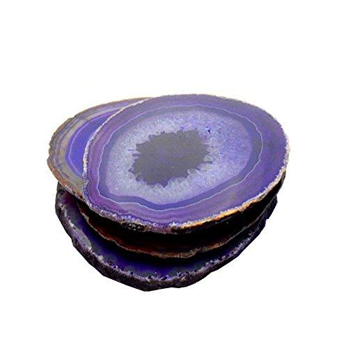 4 (FOUR) Agate Coaster - Purple Colored Agate Coasters Rock Paradise COA (AM10B1) (Colored Agate)