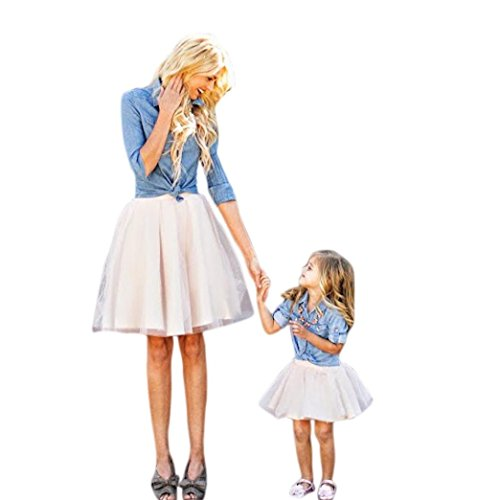 Mommy And Me Easter Dresses (FUNIC Family Clothes Outfits Set, Mommy and Me Demin T Shirt Tops+Skirt Dress (Small,)