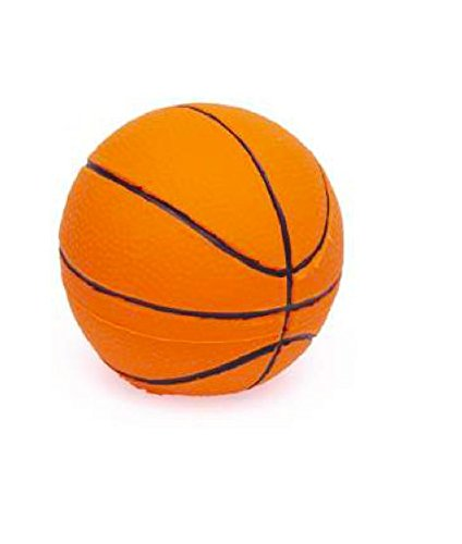 Basketball Rubber/Latex Ball Dog Toy 2.5 inches for Small Dogs, 100% Natural Rubber (Latex). Lead-Free & Chemical-Free. Complies to Same Safety Standards as Children's Toys. Soft & Squeaky.