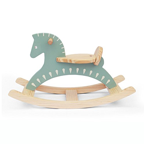 Handmade Wooden Ride On Rocking Horse Sky Blue Animal Design Rocker (Antique Wooden Rocking Horse)