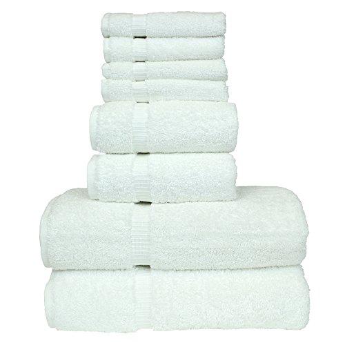 Luxury Hotel & Spa Towel 100% Genuine Turkish Cotton Bath Towel Bundle 8 Piece Towel Set, White, 2 Bath Towels 27