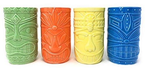 Simply Innovated, LLC Vintage Style 14 Ounce Ceramic Tiki Mug Party Tumbler Set of ()