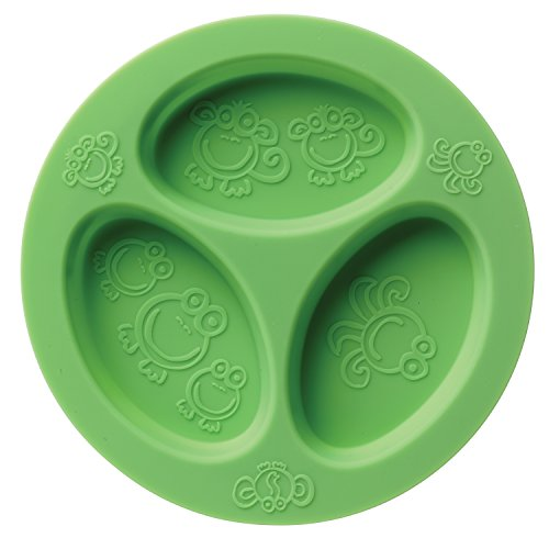Silicone Baby & Toddler Divided Plate. Safe for Oven, Microwave, Dishwasher, Freezer and Boil Safe! Green