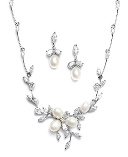 - Mariell Genuine Freshwater Pearl & CZ Marquis Necklace Earrings Set Luxury Bridal Jewelry