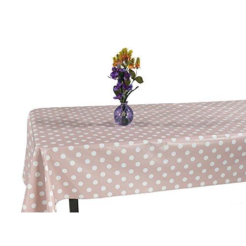 """Ottomanson Vinyl Tablecloth Polka Dot Design Indoor & Outdoor Non-Woven Backing Tablecloth, 55"""" X 102"""", Pink"""