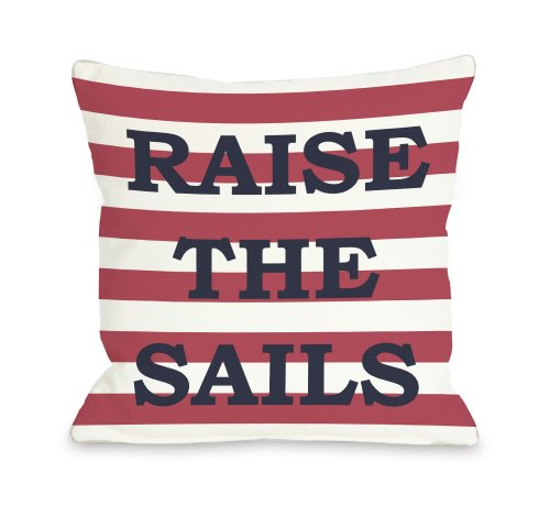 """One Bella Casa Raise The Sails Striped Throw Pillow by OBC, 20""""x 20"""", Red/White/Navy from One Bella Casa"""