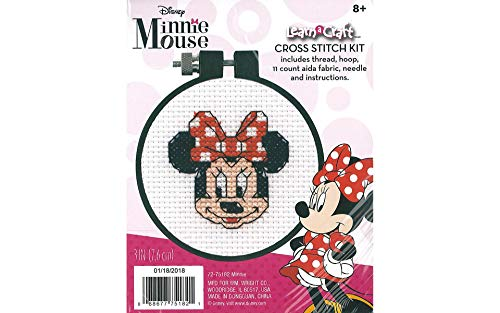 Dimensions Minnie Mouse Counted Cross Stitch Kit for Beginners, 11 Count White Aida, -