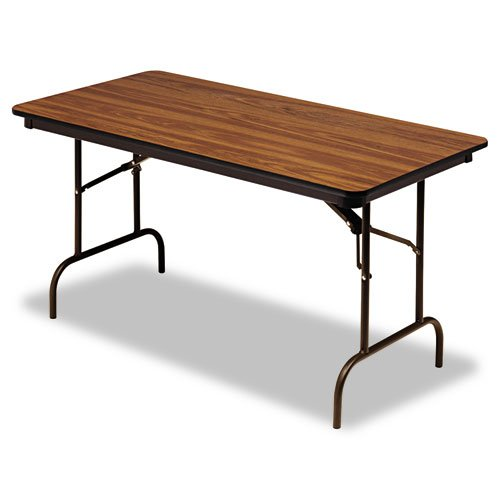 "Iceberg ICE55215 Premium Wood Laminate Folding Table with Brown Steel Legs, 30"" Length x 60"" Width x 29"" Height, Oak"