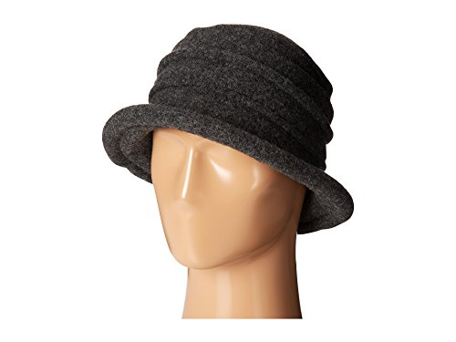 Scala Wool Top Hat - Scala Women's Packable Boiled Wool Cloche, Charcoal, One Size