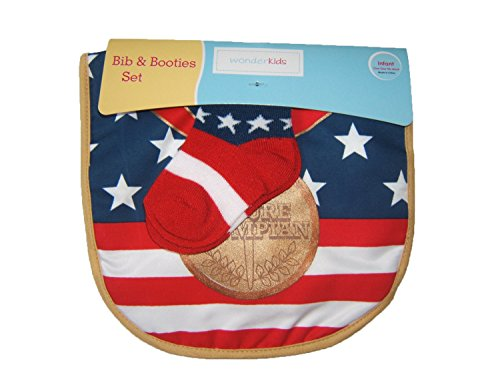 Future Olympian Baby Bib & Bootie Socks Set Olympic Gold Medal/patriotic/usa(infant One Size Fits ()