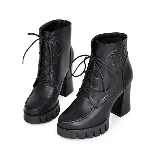 AllhqFashion Womens PU Blend Materials High-heels Low-top Round Closed Toe Boots Black J1LPfM3TsB