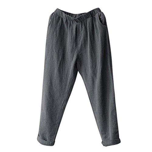 "Price comparison product image Aurorax Clearance Mens Casual Linen Pants, Elastic Waist Summer Beach Pants Trousers (Gray,  XL=Waist:26.0""-35.4"")"