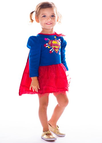 [Baby Girls' Supergirl Costume Dress - Long Sleeve Shirt with Tutu and Cape] (Toddler Supergirl Costumes)