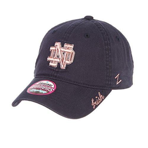 Zephyr NCAA Notre Dame Fighting Irish Women's Versailles Cap, Navy, Adjustable Baseball Metallic Hat
