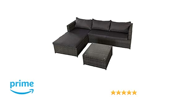 Aktive 61007 Rinconera sofá chaise long y mesa jardín, Multicolor