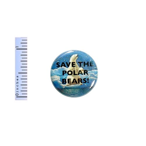 Polar Bear Button Save The Polar Bears! Backpack Pin Pinback Protect Wildlife 1