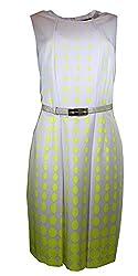 Tahari By ASL Sleeveless Dot-print Belted Dress, Khaki/goldenrod (10)