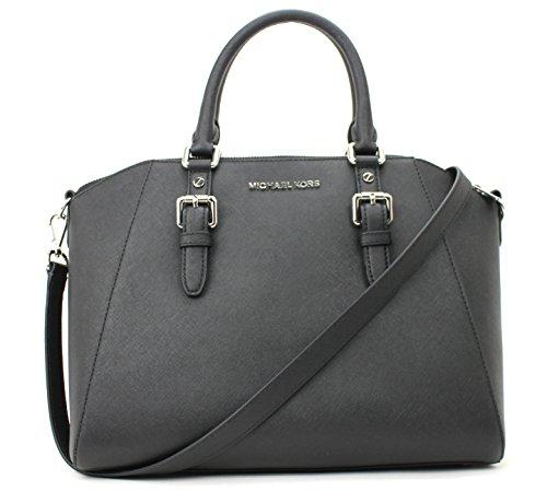 Michael Kors Ciara Large Zip Satchel Black Leather Handbag