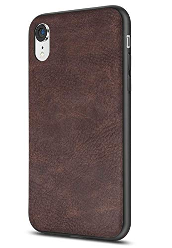 Salawat Compatible with iPhone Xr Case, Slim PU Leather Vintage Shockproof Phone Case Cover Lightweight Premium Soft TPU Bumper Hard PC Hybrid Protective Case for iPhone Xr 6.1inch 2018 (Dark - Case Premium Tpu