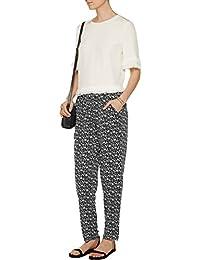 Eurie Floral Print Silk Organza Pants, Caviar Black - Size XSmall