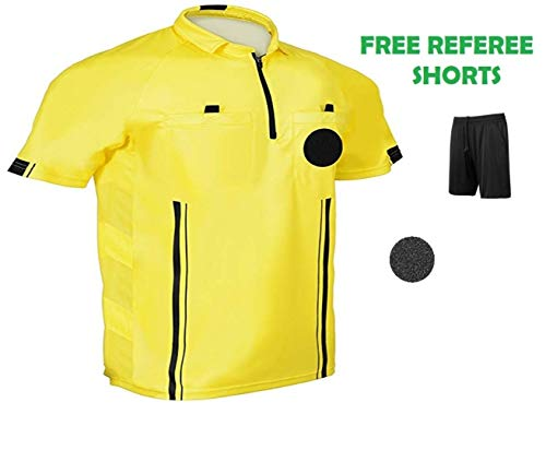 1 Stop Soccer Pro Referee Soccer Jersey Short Sleeves Free Referee Shorts ()