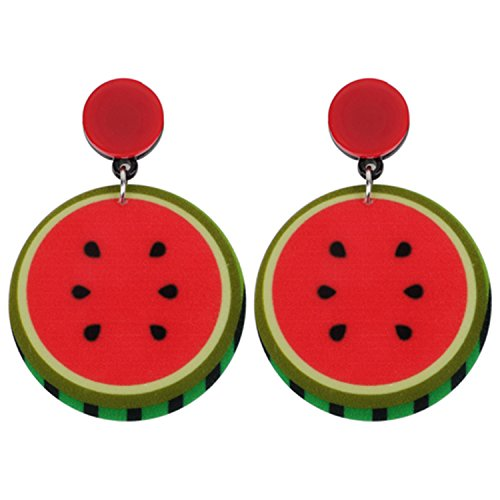 Drop Dangle Big Long Watermelon Fruit Earrings Jewelry Women Food Accessories Multicolor - David Yurman Yellow Earrings