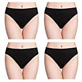 wirarpa 100% Cotton Soft Underwear for Women 4 Pack Hi Cut Breathable Panties