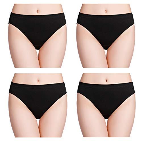 wirarpa Women's Soft 100 Cotton Underwear Panties Black Ladies High Cut Briefs 4 Pack Size 6