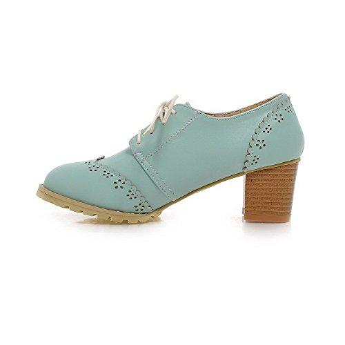Allhqfashion Dames Zacht Materiaal Veterschoen Ronde Dichte Neus Kitten-hakken Stevige Pumps-schoenen Blauw