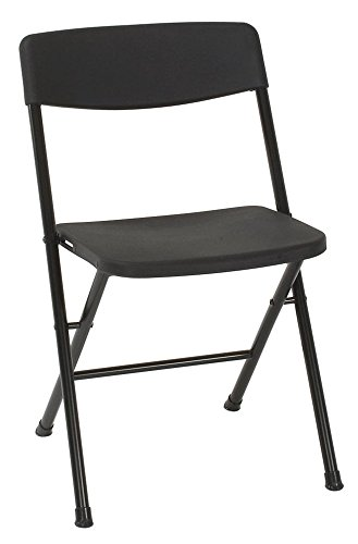 Cosco Resin 4-Pack Folding Chair with Molded Seat and Back, Black (Renewed) ()