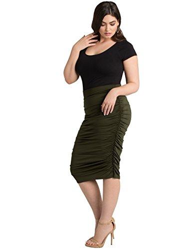 Kiyonna Women's Plus Size Helena Ruched Skirt 1X Olive by Kiyonna