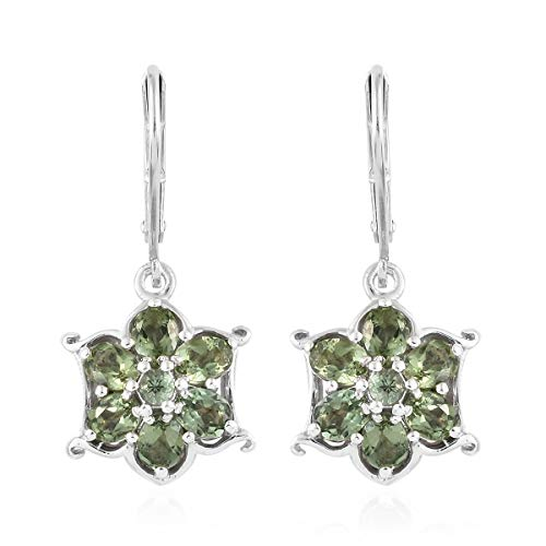 925 Sterling Silver Platinum Plated Oval Natural Green Apatite,Dangle Earrings for Women Cttw (Apatite Oval Earrings)