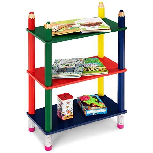 - Costzon 3 Tiers Kids Crayon Book Shelf, Open Shelf Bookcase for Children, Stand Colorful Shelf Cartoon Fun Playroom(Pencil Design)