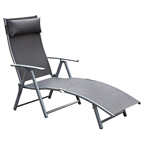 Outsunny Sling Fabric Folding Patio Reclining Outdoor Deck Chaise Lounge Chair with Cushion - Grey - Sling Adjustable Lounge Chair