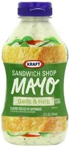 Kraft Sandwich Shop Mayo Garlic & Herb, 12-Ounce Squeeze Bottles (Pack of 6)